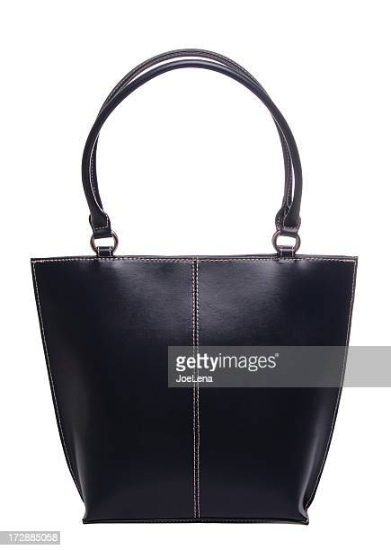 a black leather purse on a white background  - leather purse stock pictures, royalty-free photos & images