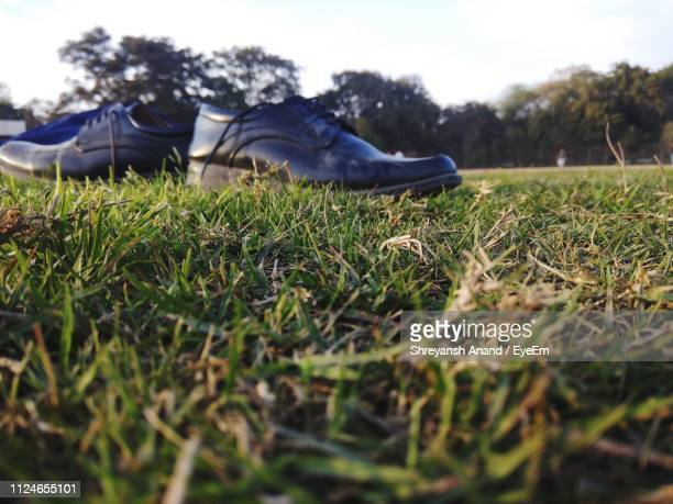 black leather shoes on grass - leather shoe stock pictures, royalty-free photos & images