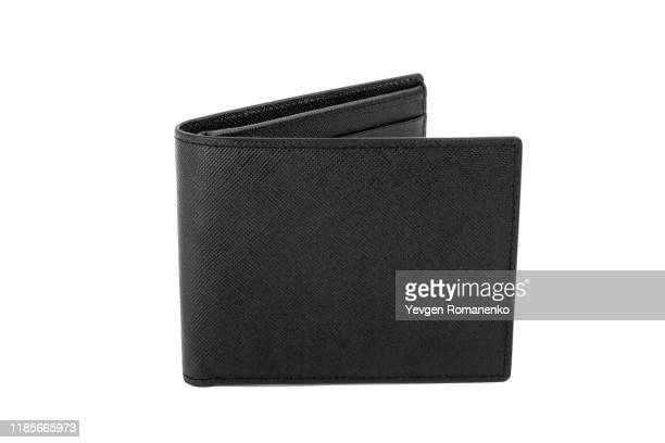 black leather wallet isolated on white background - wallet stock pictures, royalty-free photos & images