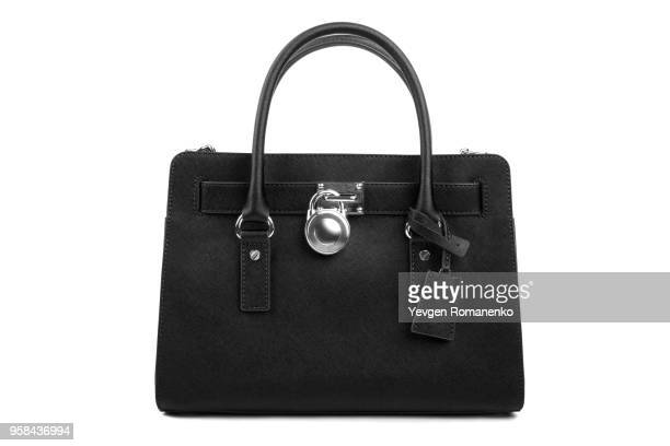 Black leather Women's handbag on white background