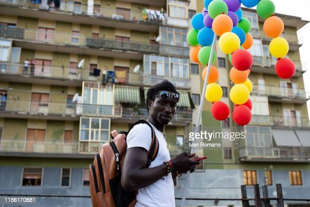 A black LGBT activist during the Avellino Pride 2019 on June 15 2019 in Atripalda Italy Abellinum Pride 2019 People Have The Power is the march in...