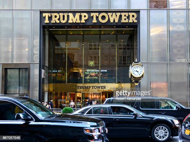 Black limousines pass in front of Trump Tower on Fifth Avenue in New York New York