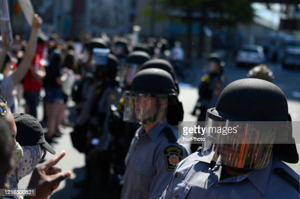 Black Live Matter protest takes to the streets to protest Police Brutality at a rally in Center City Philadelphia PA on May 30 2020 Many cities in...