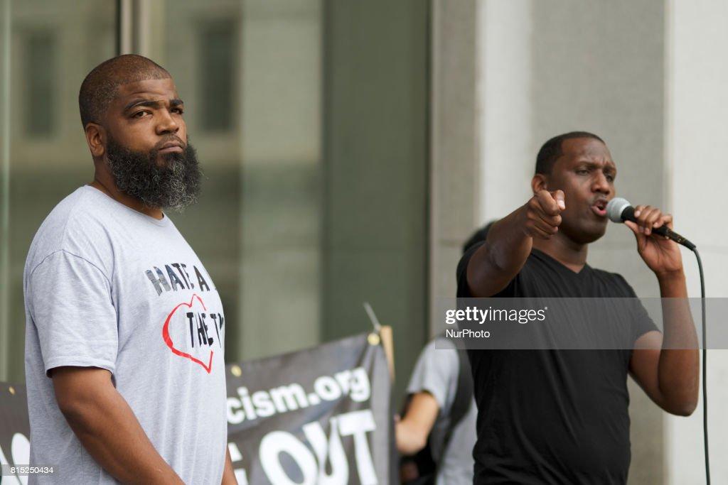 Black Lives Matter activist Asa Khalif speaks during a Refuse Racism Rally in Philadelphia, Pennsylvania, on July 15, 2017.