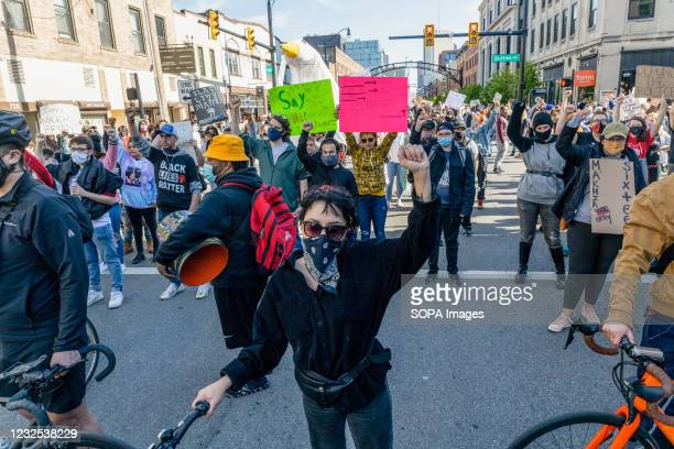 Black Lives Matter activist block off the intersection of High St. And Bollinger Pl. During a protest against the police killing of Ma'Khia Bryant....