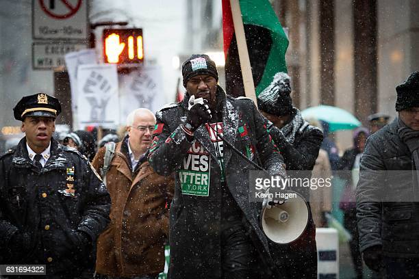 Black Lives Matter activist Hawk Newsome rallies activists in front of Trump Tower on January 14 2017 in New York City