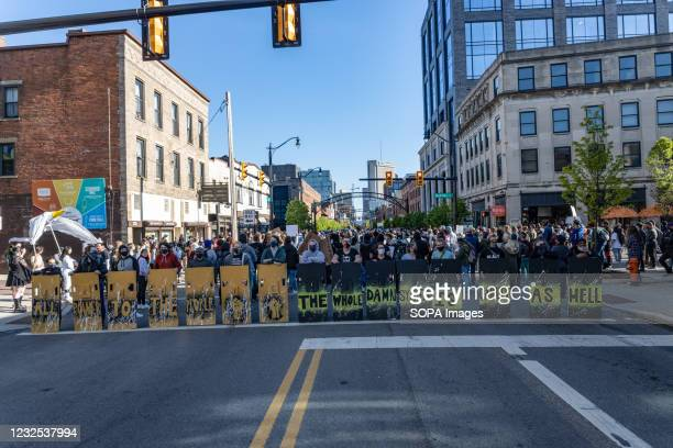 Black Lives Matter activists block High St. With shields during protest against the police killing of Ma'Khia Bryant. Black Lives Matter activists...