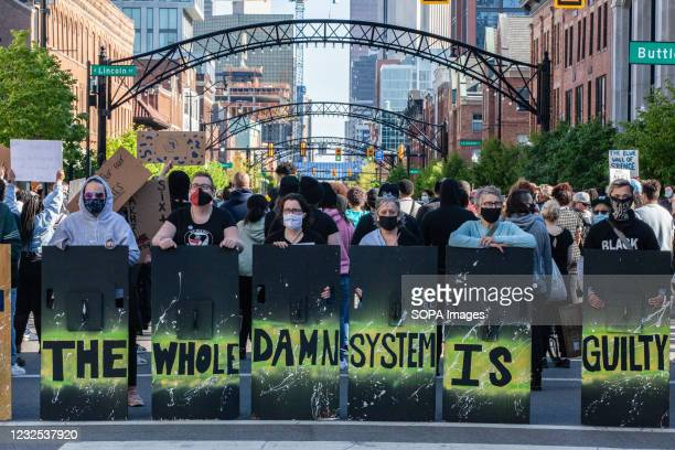 Black lives Matter activists block off a section of High St. During a protest against the police killing of Ma'Khia Bryant. Black Lives Matter...