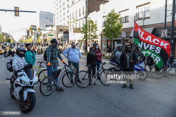 Black Lives Matter activists block off a section of High St., so that they can hold a protest against the police killing of Ma'Khia Bryant. Black...