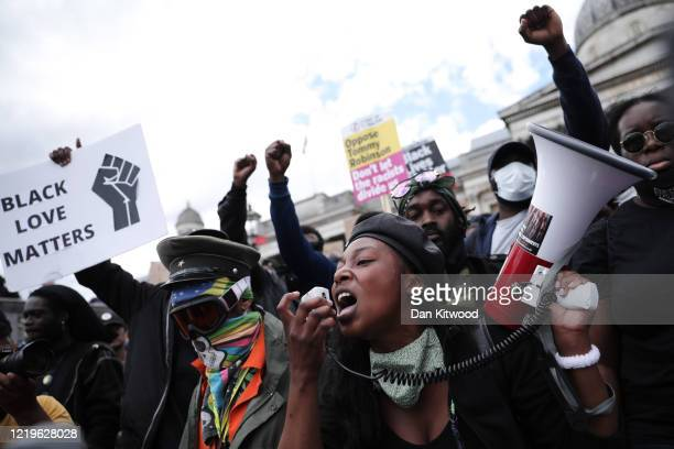Black Lives Matter activists gather for a counter protest in Trafalgar Square on June 13, 2020 in London, United Kingdom. Following a social media...