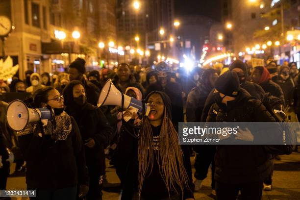 Black Lives Matter activists led by Hana Abdur-Rahim, a local organizer, march through downtown in reaction to the shooting of Makiyah Bryant on...