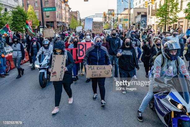 Black Lives Matter activists march back to Goodale Park after taking over High St. For a few hours during a protest against the police killing of...