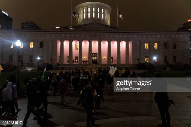 Black Lives Matter activists march to the Ohio Statehouse in reaction to the police shooting of Makiyah Bryant on April 20, 2021 in Columbus, Ohio....