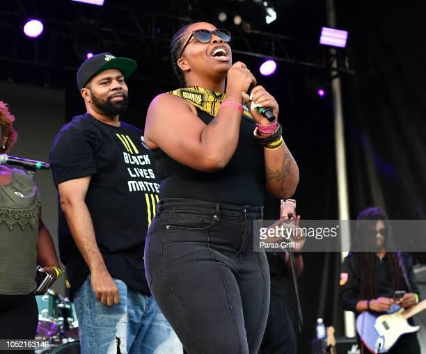 Black Lives Matter cofounder Patrisse Cullors speaks onstage during 2018 AfroPunk Festival Atlanta Carnival of Consciousness at 787 Windsor on...