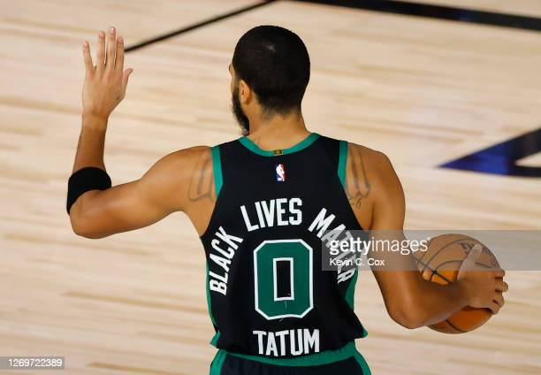 Black Lives Matter is shown on jersey of Jayson Tatum of the Boston Celtics in Game One of the Eastern Conference Second Round against the Toronto...