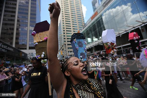 Black Lives Matter march during the 2016 Toronto Pride parade along Yonge Street