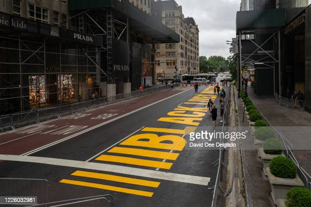 Black lives Matter mural that was painted on 5th Avenue is seen directly in front of Trump Tower on July 10, 2020 in New York City. In a tweet,...