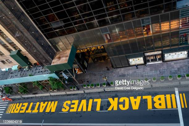 Black lives Matter mural that was painted on 5th Avenue is seen directly in front of Trump Tower on July 13, 2020 in New York City. In a tweet,...