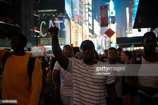 Black Lives Matter protest march through Times Square, New York