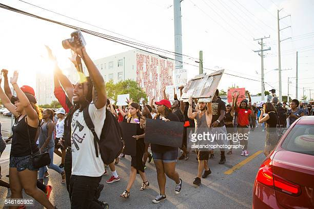 black lives matter protest miami - demonstration stock pictures, royalty-free photos & images