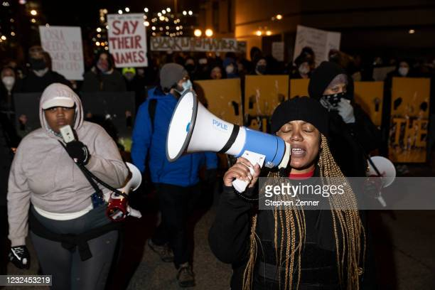 Black Lives Matter protesters march through downtown in response to the police shooting of MaKhia Bryant on April 21, 2021 in Columbus, Ohio. The...