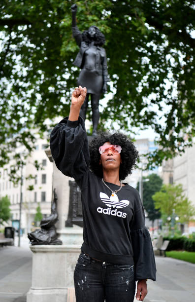 GBR: Statue Of BLM Protester Placed On Colston Plinth In Bristol