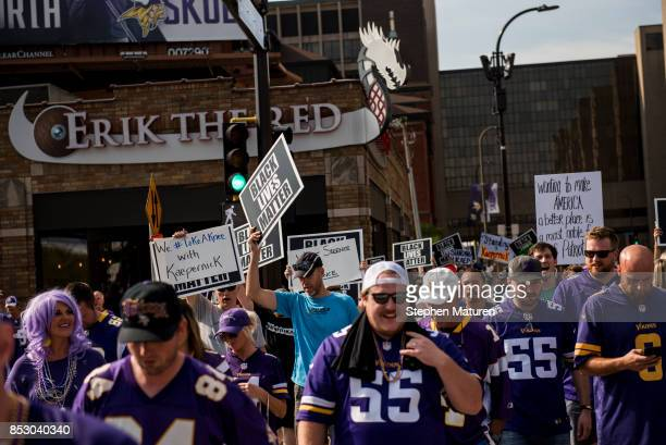 Black Lives Matter protestors march to the Minnesota Vikings game on September 24 2017 at US Bank Stadium in Minneapolis Minnesota The protest in...