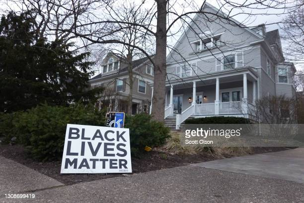 Black Lives Matter sign sits in front of a home on March 23, 2021 in Evanston, Illinois. The City Council of Evanston voted yesterday to approve a...