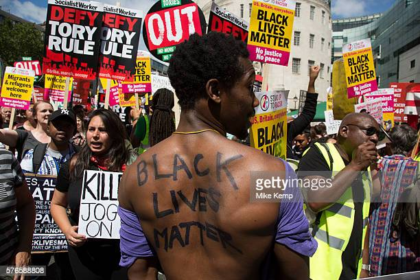 Black Lives Matter supporters at the Peoples Assembly demonstration No More Austerity No To Racism Tories Must Go on Saturday July 16th in London...