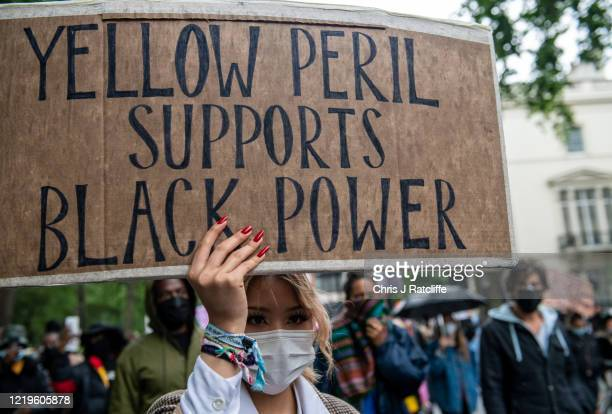 Black Lives Matter supporters march down Park Lane towards Trafalgar Square on June 12, 2020 in London, United Kingdom. The death of an African...