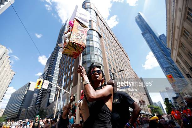 Black Lives Matter Toronto hold a sitin at Yonge Street and College Street that stalled Toronto's annual Pride Parade