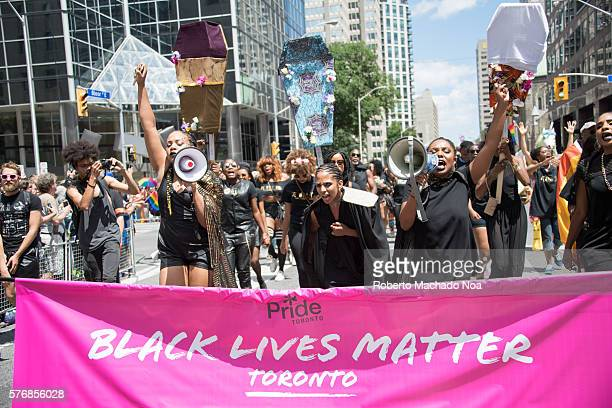 Black Lives Matter Toronto partakes as honored group in the Pride Parade 2016 They will later stage a sitin halting the parade for 30 minutes