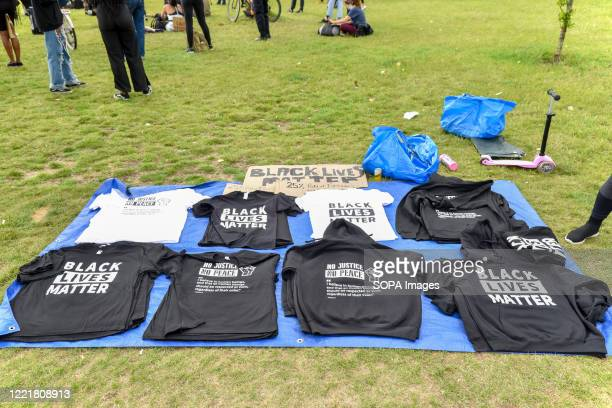 Black Lives Matter T-shirts on sale ahead of todays protest in London. Black Lives Matter protests continue in the United Kingdom after the death of...
