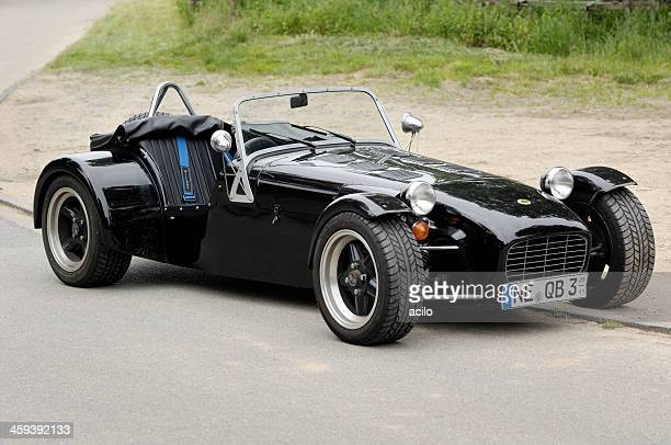 black lotus super seven sports car - lotus brand name stock pictures, royalty-free photos & images