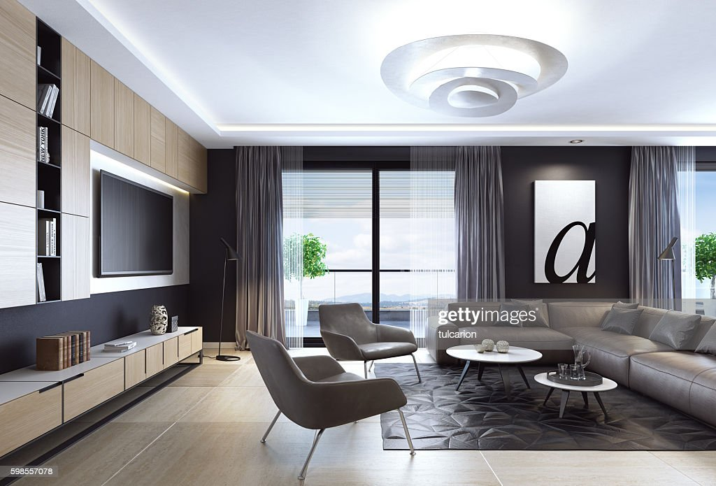 Black luxury living room interior with leather sofa and TV : Stock Photo