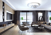 Black luxury living room interior with leather sofa and TV