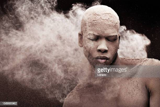 black male model against powder splash