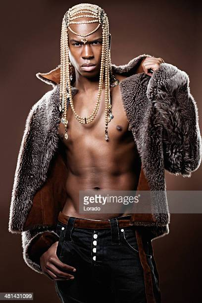 black male model posing with luxury jewelry