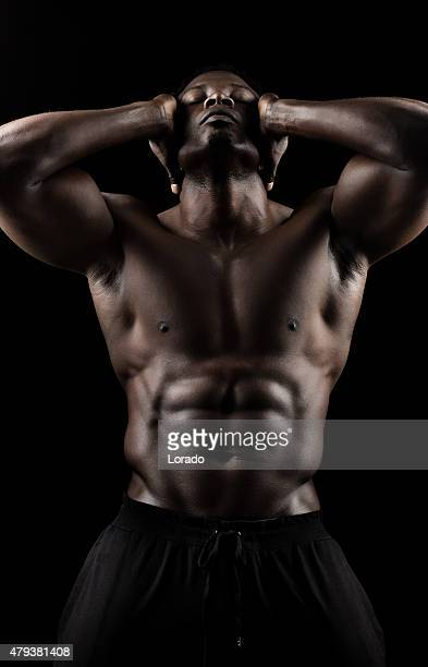 black male posing with naked torso - black male bodybuilders stock photos and pictures