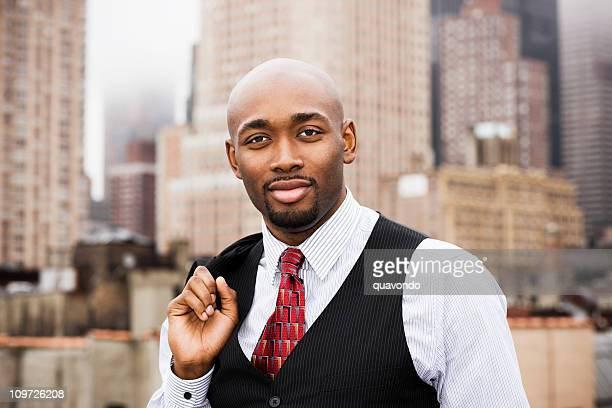 African American Business Man in Suit, Cityscape Background