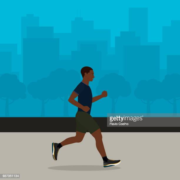 Black man jogging with cityscape on the background illustration
