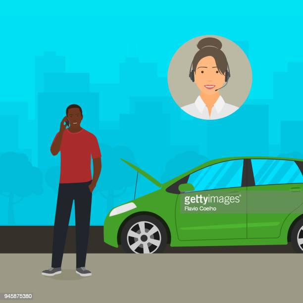 Black man on the phone getting help from car insurance company illustration
