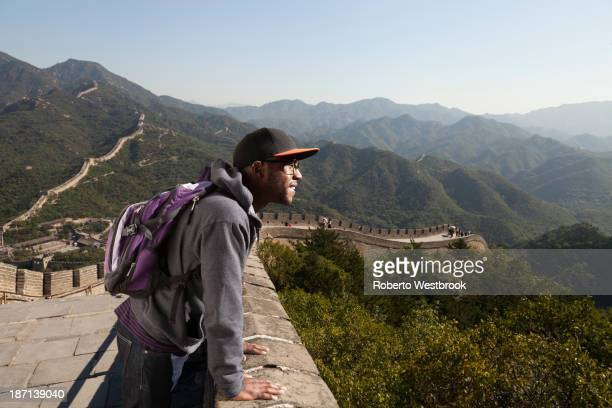 Black man standing on Great Wall of China, Beijing, Beijing, China