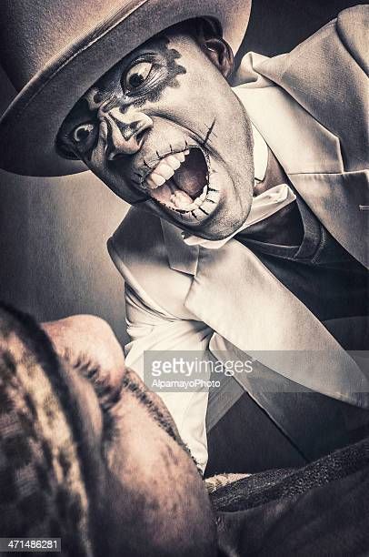 Black man with Sugar Skull face is attacking (VIII)
