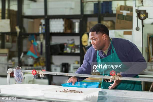 Homme noir travaillant dans l'usine de transformation de fruits de mer
