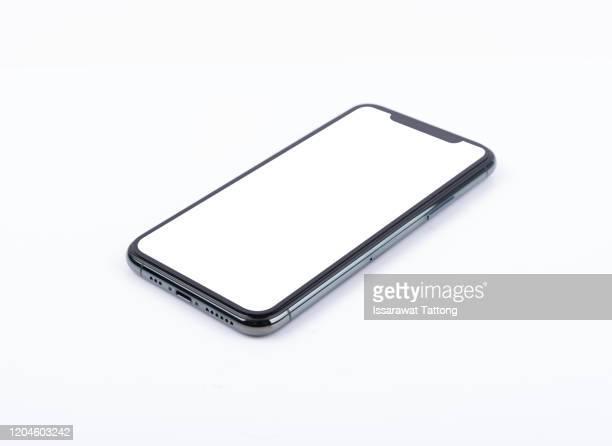 black mobile smartphone mockup isolated on white - modello dimostrativo foto e immagini stock