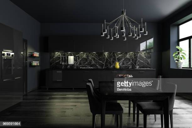 black modern kitchen interior - dining room stock pictures, royalty-free photos & images