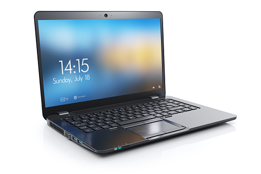 Black modern laptop with open display 1034249358