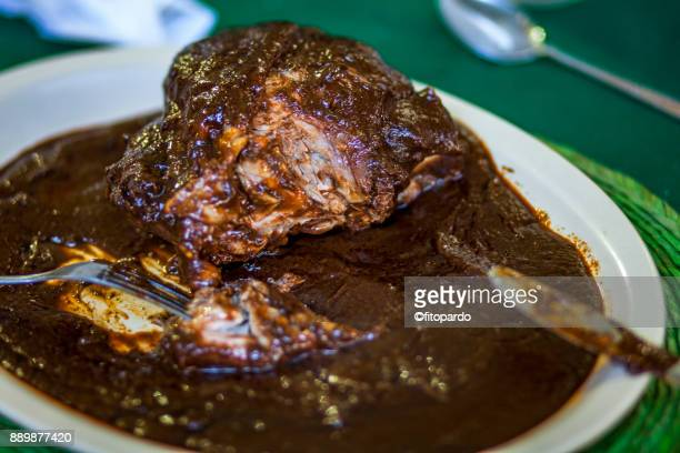 black mole sauce with chicken - mole stock photos and pictures