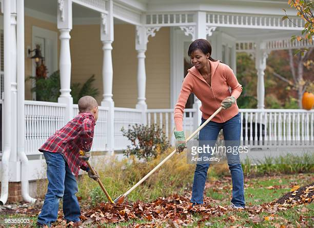 black mother and son raking leaves - rake stock pictures, royalty-free photos & images